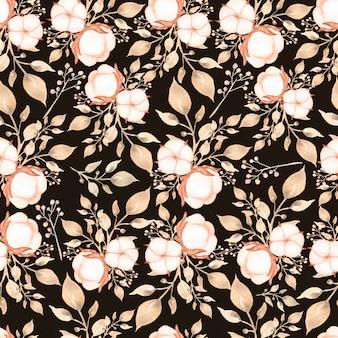 水彩の手には、柔らかい中立色の葉枝パターンでシームレスな綿の花束が描かれました。黒の背景に柔らかい茶色ベージュ色。ビンテージコットンパターン。