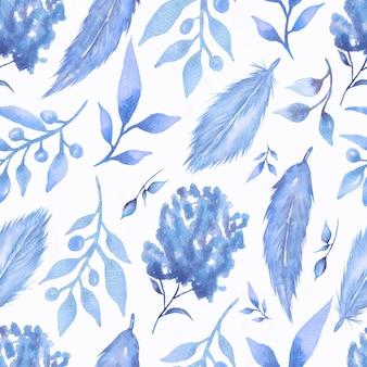 花とトレンディな青い色の羽と水彩のシームレスパターン