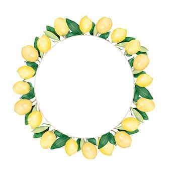 手描き水彩レモンのラウンドフレーム。レモンと葉の水彩イラストリース。