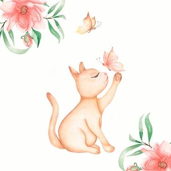蝶と花のカードと赤い国内座っている猫。かわいい猫のキティが蝶をキャッチします。水彩の手描きイラスト