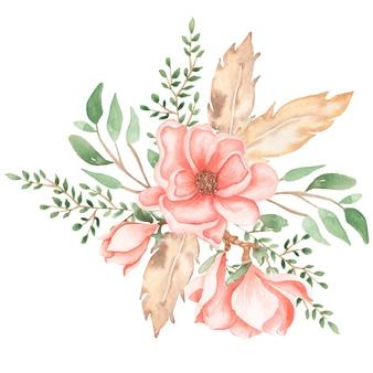 水彩の手には、緑の葉、羽、枝と柔らかいピンクの牡丹とマグノリアの花の花束イラストが描かれました。ウェディングブーケ。