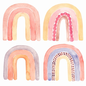 Абстрактный детский акварельный набор радуги, клипарт с раскрашенными вручную богемными радугами.