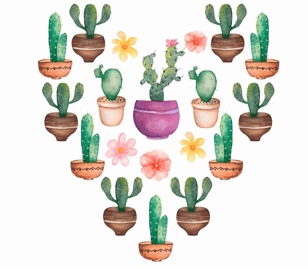 Акварель кактус сердце набор. тропический цветочный набор. день святого валентина кактус сердце. домашнее растение установлено. кактус клипарт. кактус с цветами в горшке.