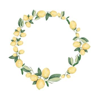 手描き水彩の丸いレモンの花輪。