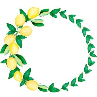 水彩の手描きのレモンの花輪。