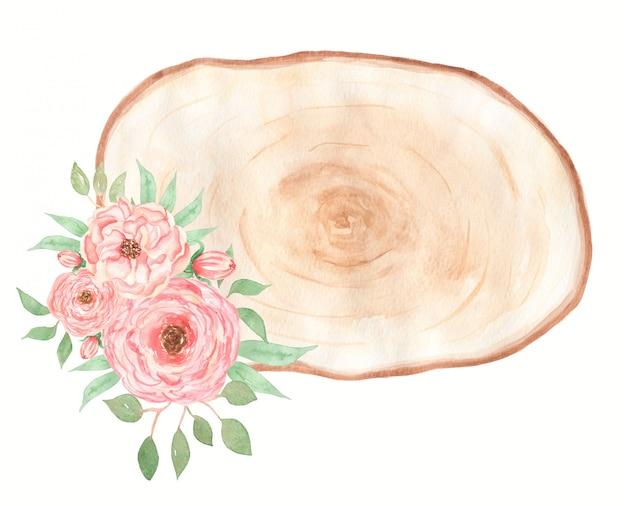 サンゴの花の花束と水彩の木製スライスクリップアート。ピンクの牡丹の花輪のイラスト。結婚式の招待状。手描き春の緑の花のアレンジメント。結婚式の装飾。