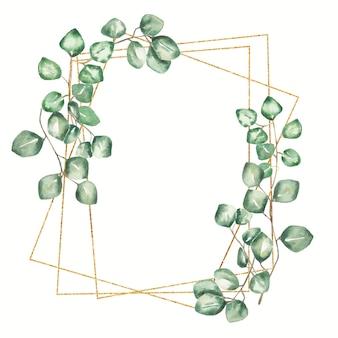 水彩緑フレームイラスト緑のユーカリの葉とゴールデンフレーム