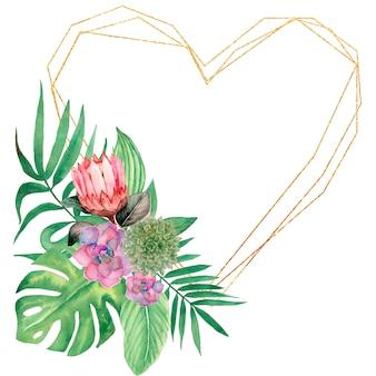 水彩の熱帯の葉と花柄のフレームイラスト