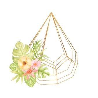 水彩トロピカル花柄と葉のフレーム