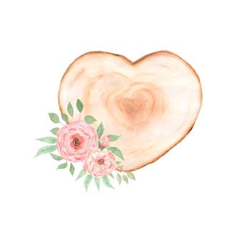 Акварельный розовый пион, рамка и долька дерева