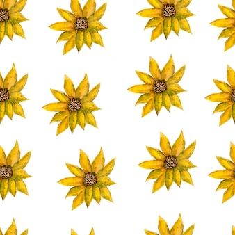 シームレスな無限手描きの水彩のロマンチックな花の黄色い花柄分離の背景