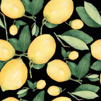 水彩のシームレスパターン、新鮮な柑橘系の黄色いフルーツレモンの枝