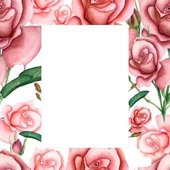 水彩ガーデン花カードの背景