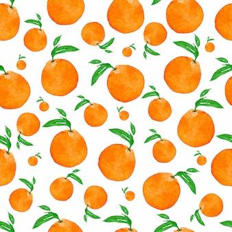 オレンジと葉のシームレスな水彩画パターン