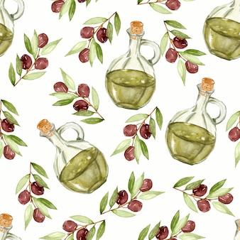 オリーブオイル、オリーブの枝のボトルの水彩画のパターン