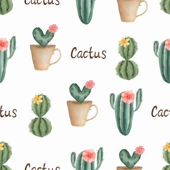 水彩のシームレスなサボテンの花模様。鍋にサボテンと手描き。温室植物