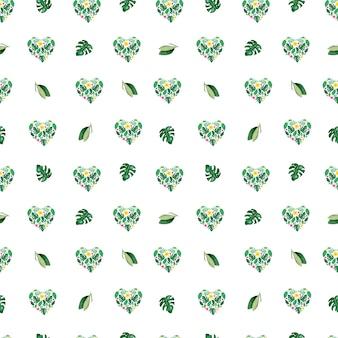 水彩トロピカル葉シームレスパターン。ハートの花の形