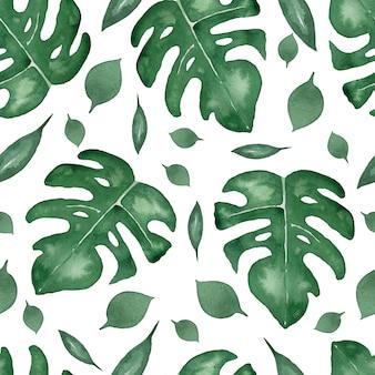 葉モンステラのシームレスなパターン。ヤシの木の熱帯の葉。