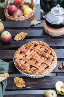 アップルパイとティーポット、紅茶、感謝祭