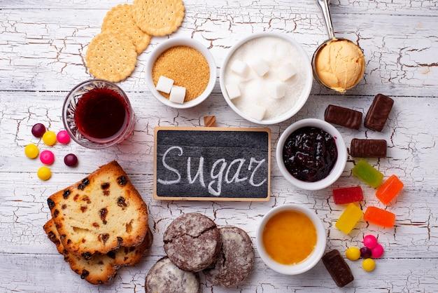 Нездоровые продукты с высоким содержанием сахара