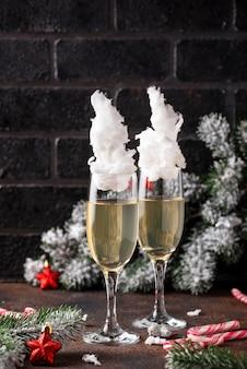 綿菓子入りシャンパングラス