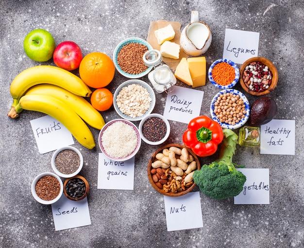 ラクトベジタリアンダイエットコンセプト。健康食品