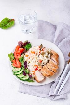 Жареная куриная грудка с рисом