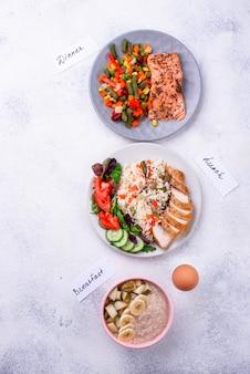 Завтрак обед и ужин. дневное меню