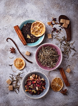 各種のお茶セレクティブフォーカス