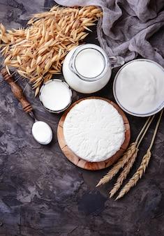 Цфат, сыр, молоко и пшеничные зерна. символы иудейского праздника шавуот. выборочный фокус