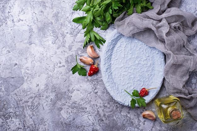 調理用スパイスキッチンフードの背景。上面図