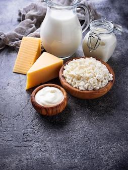 Ассортимент различных молочных продуктов.