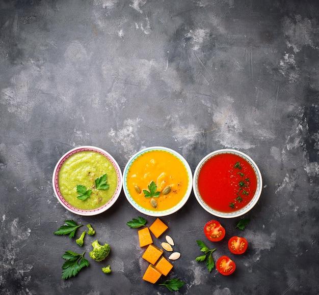 さまざまな野菜のクリームスープのセット