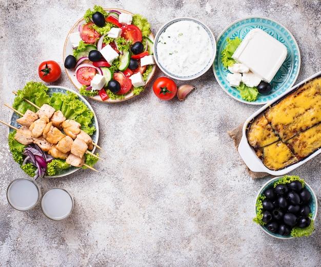 Ассортимент традиционных греческих блюд