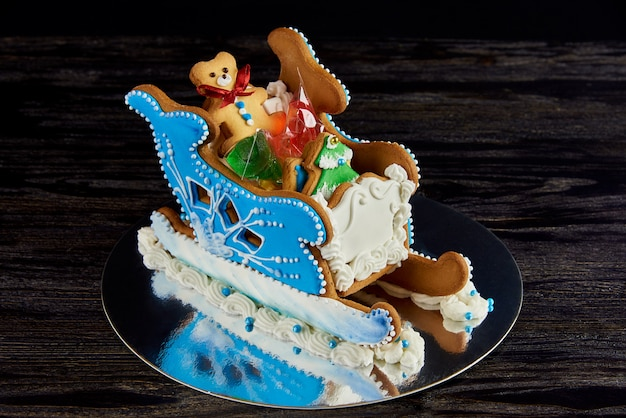 お菓子とクリスマスジンジャーブレッドそり