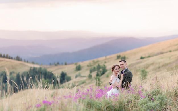 美しい山の風景と結婚式のカップルは牧草地に座っています。