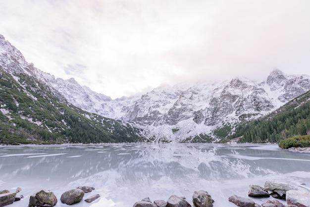 雪に覆われた冬の山々と凍った高原湖の息をのむような眺め