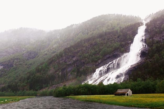 背の高い岩の上の滝
