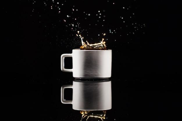 黒、背景、白、カップ、コーヒー
