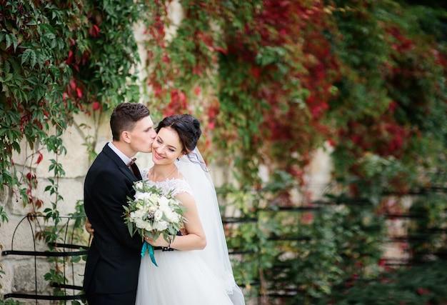 新郎新婦は、緑と赤のツタの壁の前に彼女と一緒に花嫁の頬の柔らかいポーズをキスする