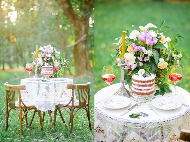 新鮮な空気のケーキで風景の結婚式のテーブル