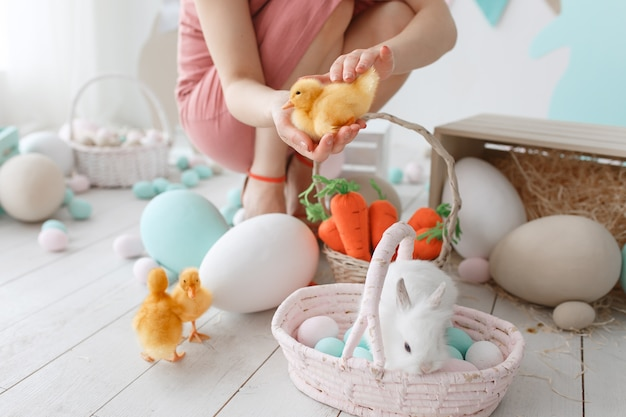 Подготовка к пасхальному празднику. женщина настраивает утят и кролика среди раскрашенных яиц