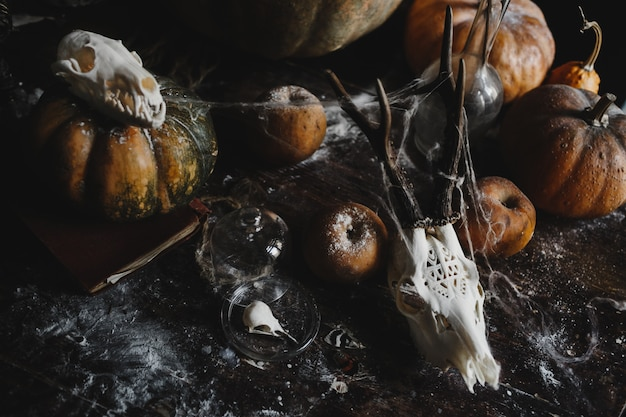 Хэллоуин декора. старые тыквы, гранаты, яблоки