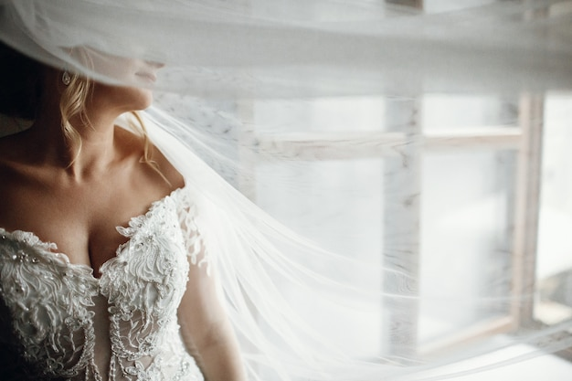 彼女は窓の前に立っている間ベールは花嫁の顔を覆っています