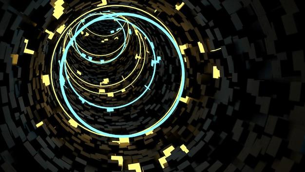 レトロでサイファイのパーティーシーンでサークルライトトンネル背景で実行されています。