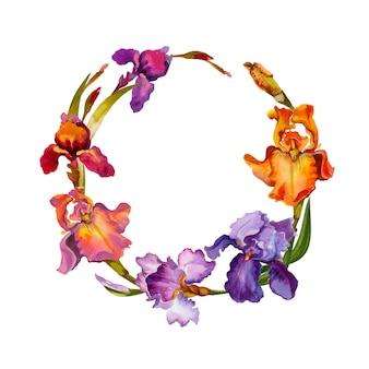 アイリス水彩の美しい花の花輪を白で隔離されます。