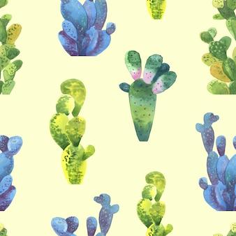 サボテンのシームレスパターン。包装紙やスクラップブッキングのための水彩画のサボテンのパターン。