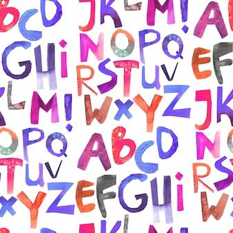 カラフルなアルファベットと水彩のシームレスパターン