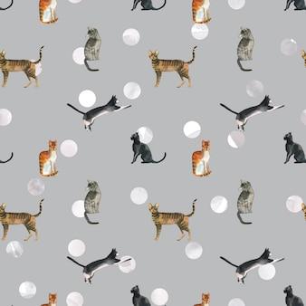 水玉の背景に水彩猫パターン。繊維や包装紙のヴィンテージの猫のパターン。