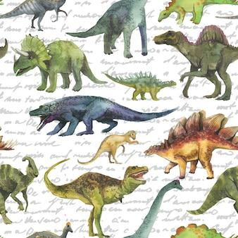 恐竜と手描かれたシームレスパターン。リアルな恐竜柄。